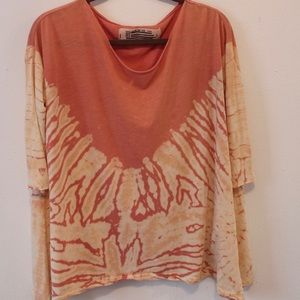 Tie dye orange free people mid sleeve